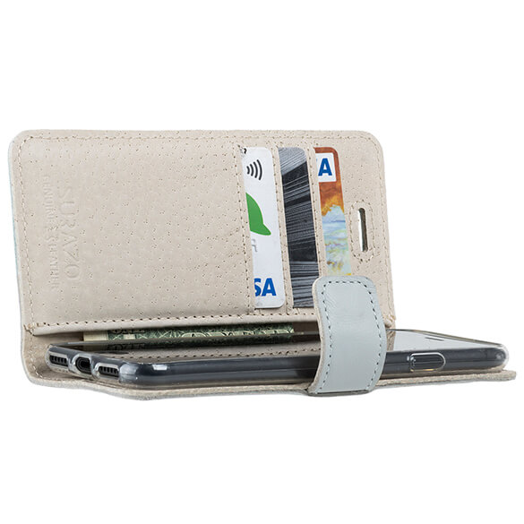 Book Case Lederhülle Pastell Grau Blau Apple Iphone 8 Pfote Im Herzen Aus Silber